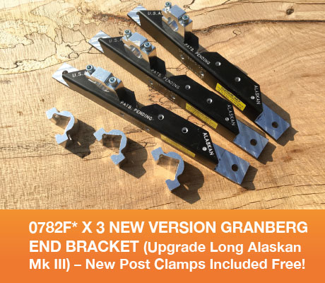 0782F* x3 New version Granberg End Bracket (Upgrade Long Alaskan Mk IV) - New Post Clamps Included Free!