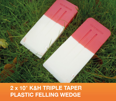 "2 x 10"" K&H TRIPLE TAPER PLASTIC FELLING WEDGE"