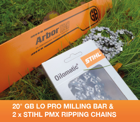 20 gb lo pro milling bar & 2 x stihl pmx ripping chains