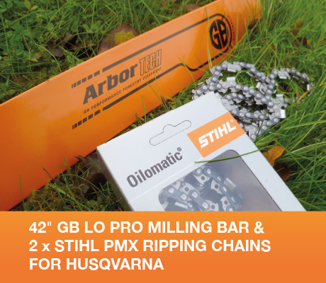42 gb lo pro milling bar & 2 x stihl pmx ripping chains for husqvarna