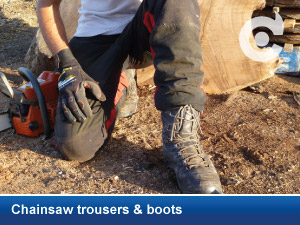 chainsaw trousers boots