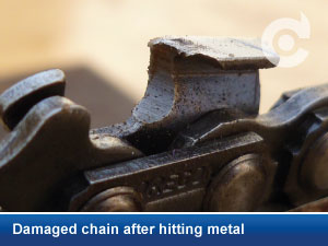 damaged chain hitting metal image