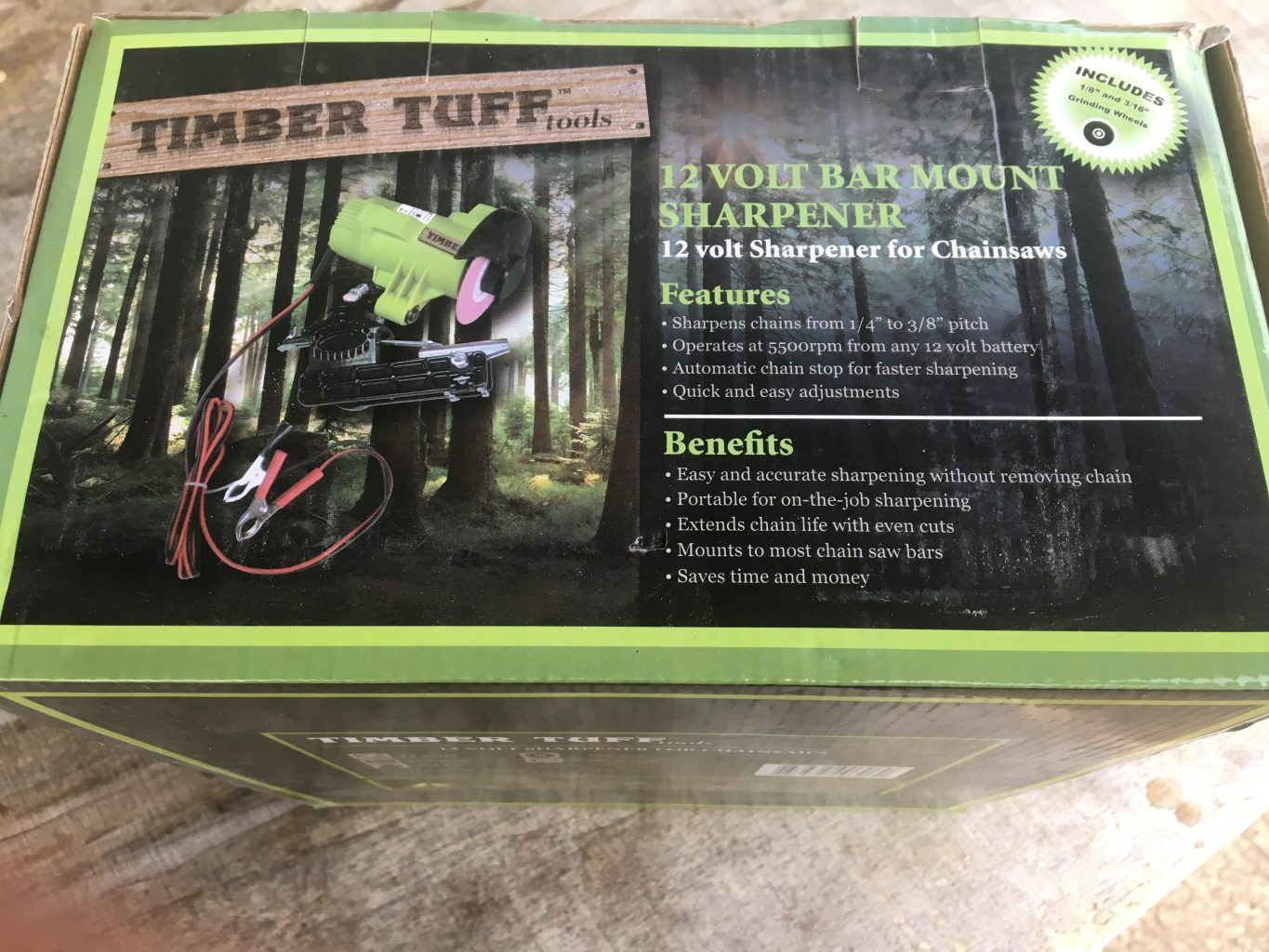 TTG Timber Tuff 12v Grinder - Mount directly onto your chainsaw bar