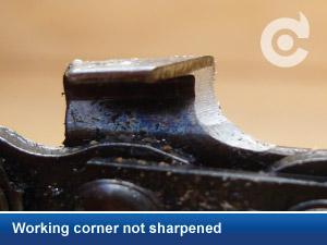 working corner not sharpened